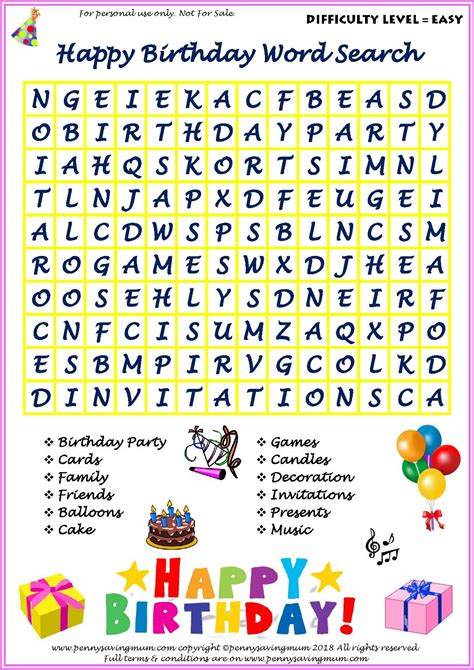 word search happy birthday easy version  images