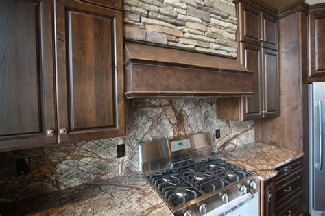 Forest Web Mahogany Marble Backsplash  Rustic  Kitchen