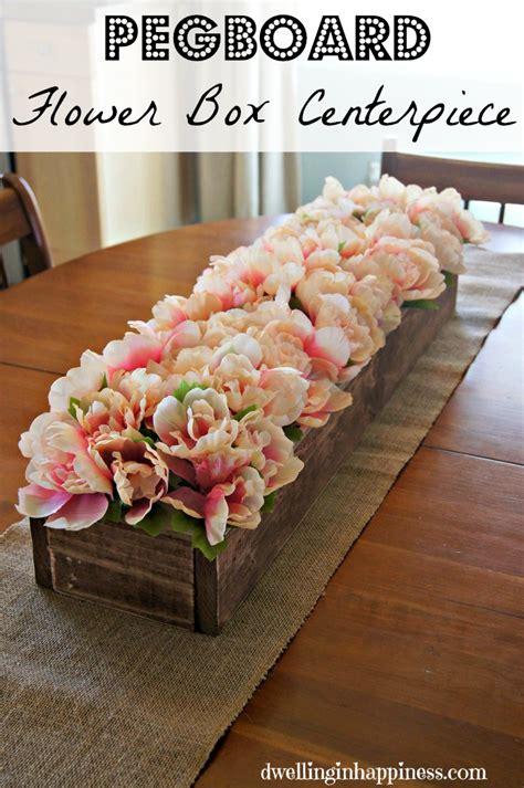 pegboard flower box centerpiece
