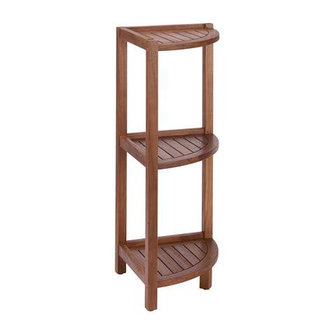 stained teak  tier corner shelf  brown bathroom