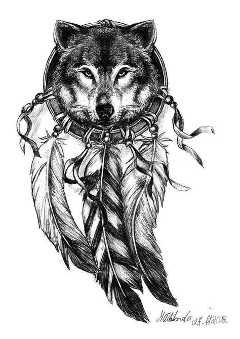 Black Ink Tribal Wolf Tattoo Stencil With Dream Catcher – Truetattoos