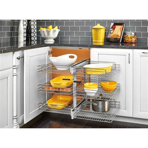 blind kitchen cabinet organizer rev a shelf 18 in corner cabinet pull out chrome 3 tier 4793