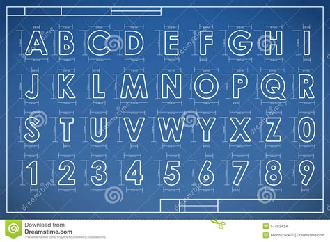 Blueprint Font Alphabet Stock Vector. Illustration Of