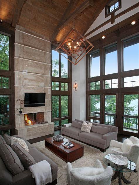 rustic modern living room  pendant light cushion