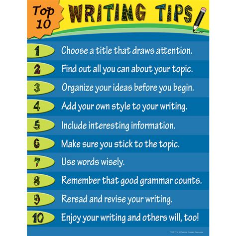 Writing Tips top 10 writing tips chart tcr7716 created
