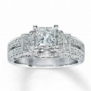 Kay diamond engagement ring 1 3 8 ct tw princess cut 14k for 1 ct wedding ring