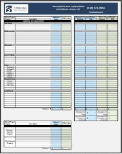 community property worksheet wisconsin property division worksheet sterling