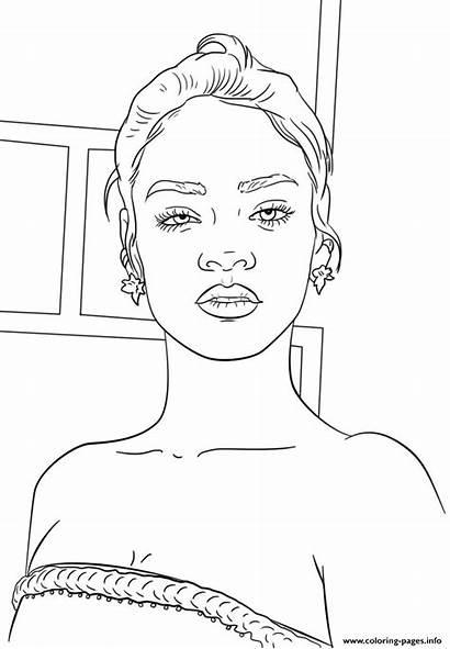 Coloring Rihanna Celebrity Coloriage Famous Celebrite Dessin