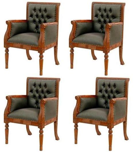 4 fauteuils chesterfield de bureau siege visiteur facon cuir vert chaises bureau