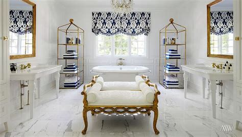 Navy And Gold Bathrooms