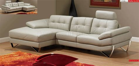 light grey leather modern sectional sofa wremovable headrests
