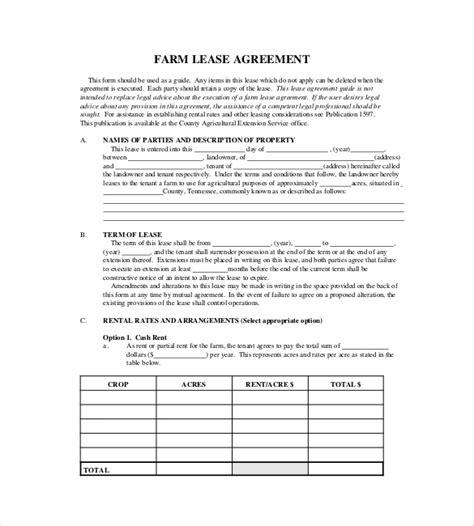 Farm Partnership Agreement Template by 17 Lease Template Doc Pdf Free Premium Templates