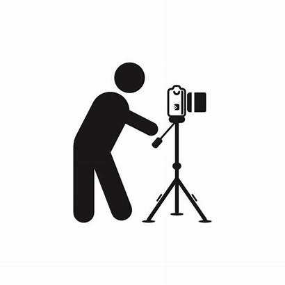 Camera Side Tripod Photographer Icon Standing Behind