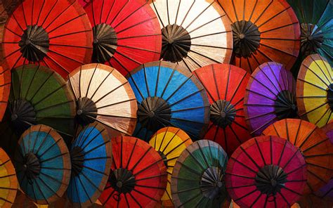 umbrellas colorful laos paper oil asia medley luang attila clustered prabang traditional flowers flickr asiasociety