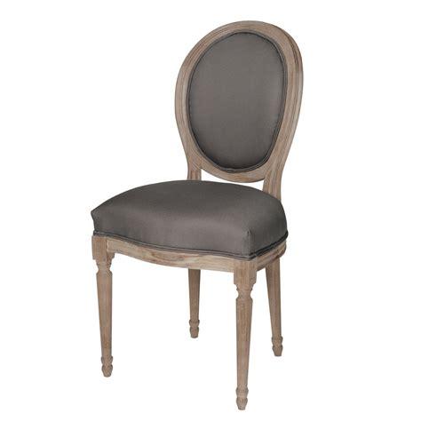 chaise medaillon en coton  chene massif grise louis maisons du monde