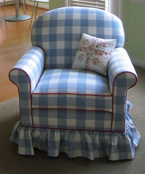 love  blue gingham chair  red trim   love