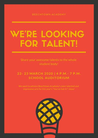 customize  talent show flyer templates  canva