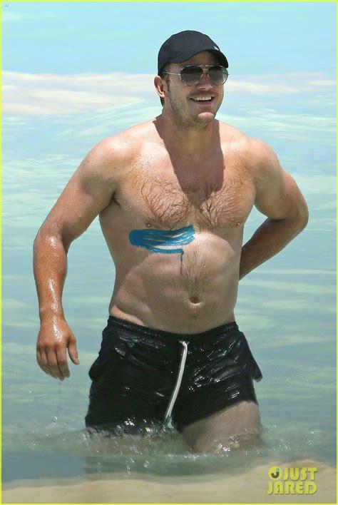 calum scott swimsuit chris pratt goes shirtless in hawaii wears athletic tape