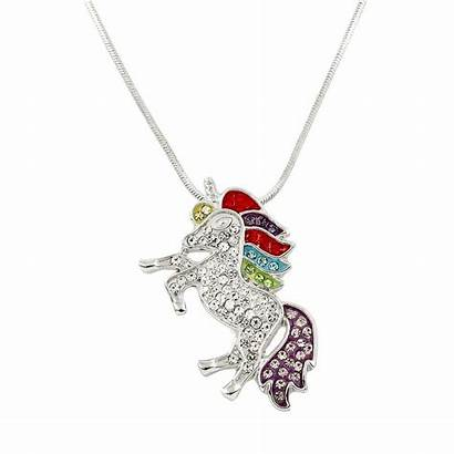 Unicorn Necklace Rainbow Pendant Majestic Crystal Jewelry