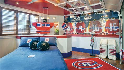 chambre canadien décoration chambre de garcon hockey