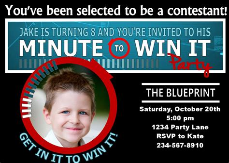The minute to win it birthday party collection 1 (pdf printable set) is available for $20.00. Minute to Win It Party Supplies, Printables, and Invitations!