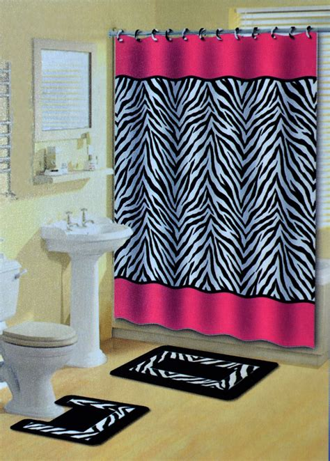 Zebra Print Bathroom Set pink zebra stripes animal print 15 pcs shower curtain w