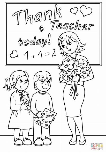 Teacher Coloring Pages Thank Printable Today Appreciation