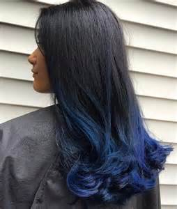 Black with Blue Dip Dye Hair