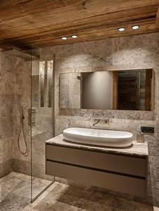 salle de bain avec un sol en travertin photos et idees With beautiful peindre porte 2 couleurs 8 peindre du carrelage au sol carrelage