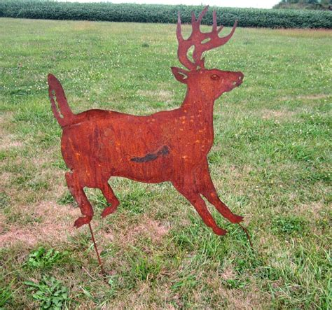 rustic metal deer yard stake lawn ornament