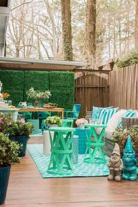 Colorful, Outdoor, Patio, With, Spring, Decor