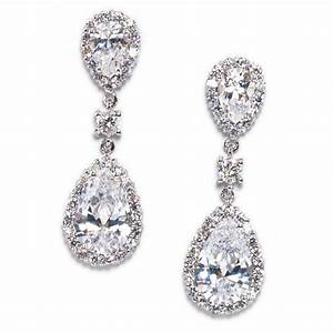 keirsten pear shape cubic zirconia statement earrings With wedding ring earrings