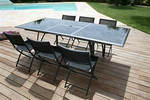 Table 6 Personnes Dimensions : ensemble de jardin pour 8 personnes table en aluminium noir 8 chaises pliantes en aluminium ~ Teatrodelosmanantiales.com Idées de Décoration