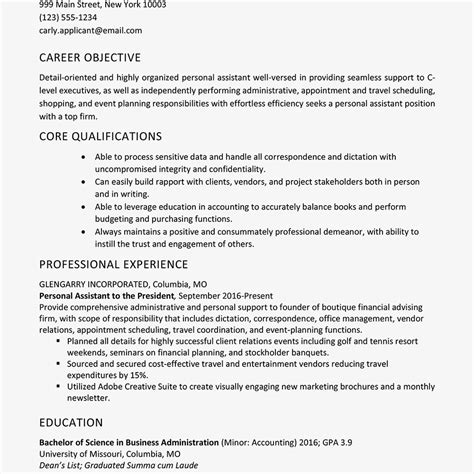 Personal Assistant Objectives Exles personal assistant resume sle and skills list