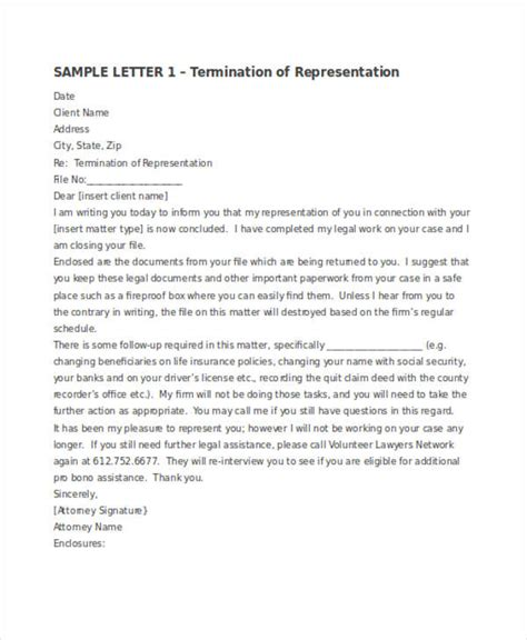 termination letter examples samples