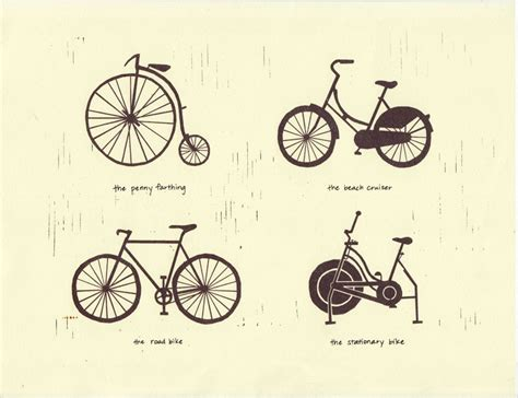 Bike Types Art Illustration 8.5 X 11 Signed Archival By