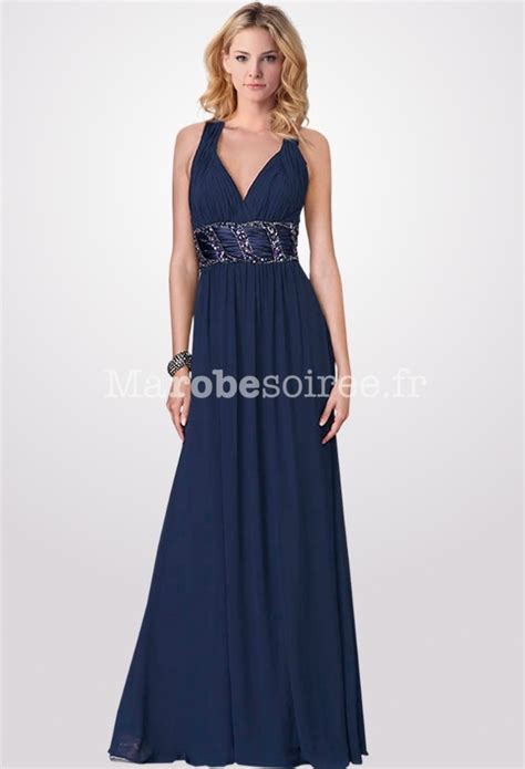 robe de mariã e 2 en 1 robe de soirée longue dos nu croisé en mousseline bleu