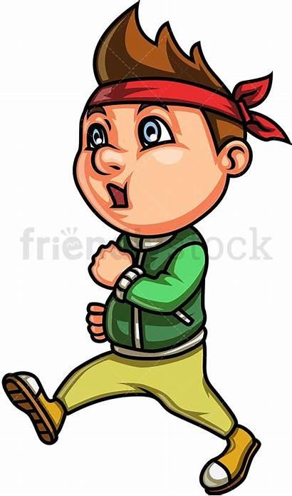 Walking Cartoon Kid Clipart Power Brown Boy