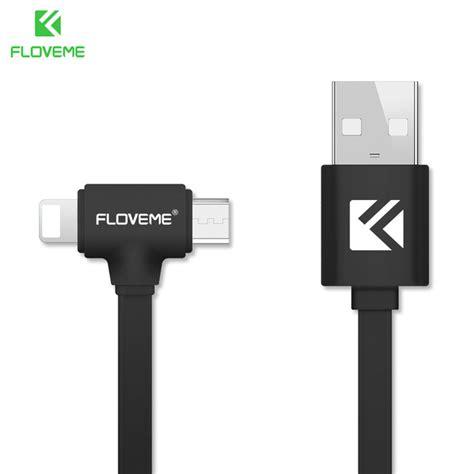 floveme l shape 2 in 1 kabel charger lightning micro usb 1 8a 80cm black jakartanotebook