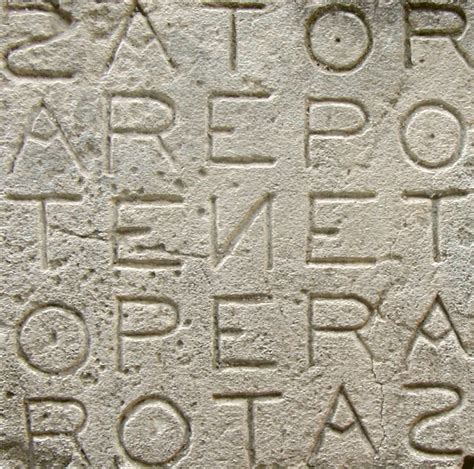 From latin, it means to master, preserve, sustain. Sator Square - Wikipedia
