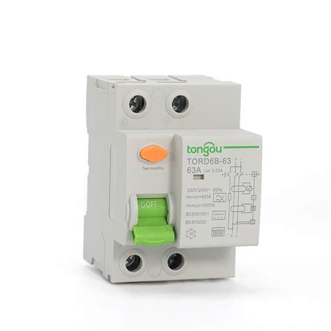 tord6b 63 2pole type b rcd 16a 63a 30ma residual current circuit breaker rccb tongou