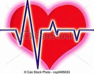 Illustration Of Red Heart With Lines Being Heart Beat