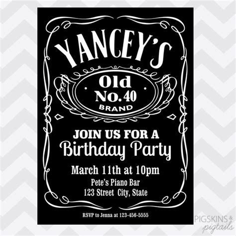 Whiskey Birthday Invitation Pigskins Pigtails
