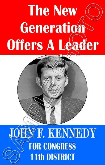 John F Kennedy Campaign Poster 11x17 - #5 Repro 1946 | eBay