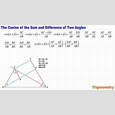 Trigonometry 7 The Cosine Of The Sum And Difference Of Two Angles Youtube