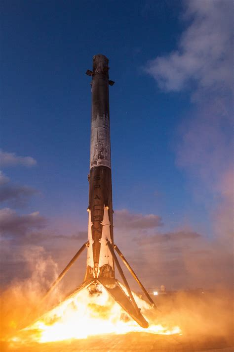 spacex booster lands   time  drone ship