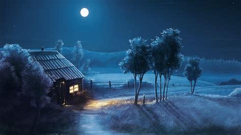 1920x1080 Landscape Night Moon Stars 1080p Laptop Full Hd