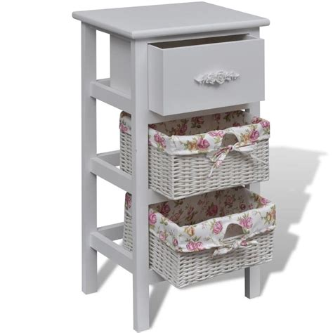 white cabinet with baskets vidaxl co uk white cabinet with 1 drawer and 2 baskets wood