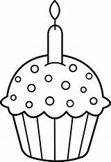 Cupcake Coloring Birthday Clip Line Cupcakes Candle Sweetclipart sketch template