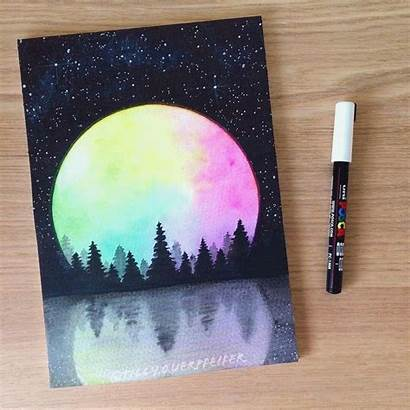 Rainbow Moons Moon Illustrationoftheday Bulletjournal Pastel Oil